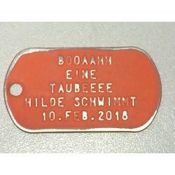 Dog Tag set, custom made, vintage orange
