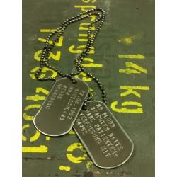 Dog Tag set, custom made, vintage oliv