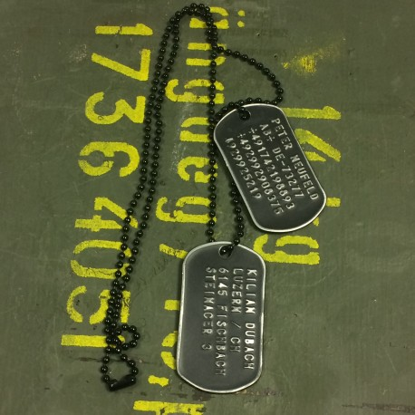 Dog Tag set, custom made, vintage black