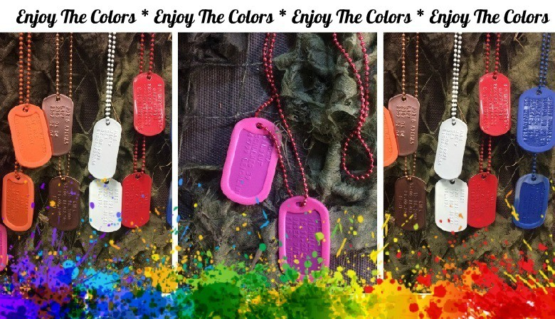 multicolor dog tags