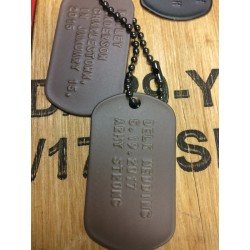 Dog Tag set, custom made, braun